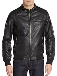 Members Only Faux Leather Bomber Jacket Black