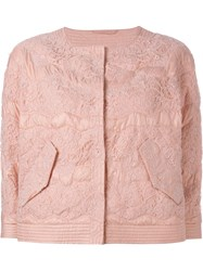 Ermanno Scervino Lace Embellished Padded Jacket Pink And Purple