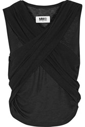 Maison Martin Margiela Mm6 Wrap Effect Stretch Jersey Top Black