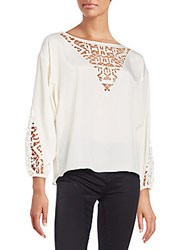 Townsen Embroidered Peasant Blouse Winter White