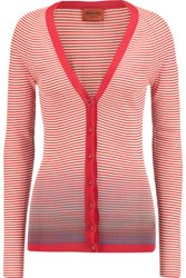 Missoni Striped Knitted Cotton Blend Cardigan Red