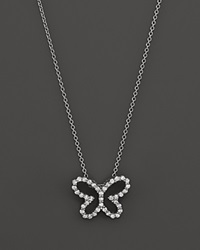 Roberto Coin 18K White Gold Diamond Butterfly Pendant Necklace 16