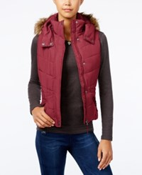 American Rag Faux Fur Trim Hooded Puffer Vest Only At Macy's Red