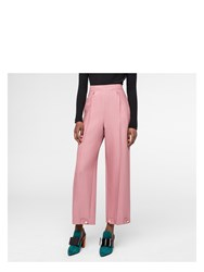 Paul Smith Women's Pink Wool Silk Pique Trousers With Button Cuffs