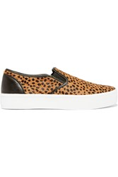 Rebecca Minkoff Sloane Cheetah Print Calf Hair Slip On Sneakers Brown