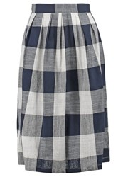 Louche Dhessie Aline Skirt Navy Cream Dark Blue