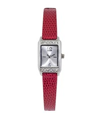Jolie Ladies Crystal Embellished And Leatherette Strap Watch Red