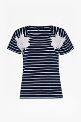 French Connection Sandra Lace Striped T Shirt Blue