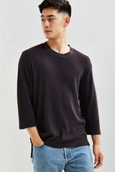 Urban Outfitters Uo Waffle 3 4 Sleeve Tee Washed Black