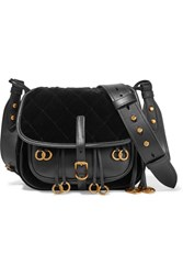 Prada Messenger Leather And Quilted Velvet Shoulder Bag Black
