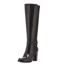 Sesto Meucci Calista Buckle Leather Knee Boot Black Blac