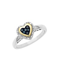 Lord And Taylor Sterling Silver With 14Kt. Yellow Gold Green Blue Diamond Heart Ring