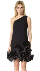 Victoria Beckham Single Shoulder Ruffle Dress Black