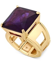 T Tahari Gold Tone Purple Crystal Cocktail Stretch Ring
