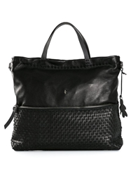 Henry Beguelin Woven Panel Shoulder Bag Black