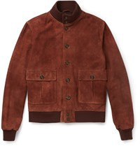 Valstarino Slim Fit Washed Suede Bomber Jacket Red