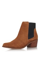 Topshop Spider Tan Low Heel Ankle Boots By Miss Kg Tan