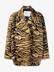 Adam By Adam Lippes Tiger Jacquard Oversized Jacket Black Brown Denim
