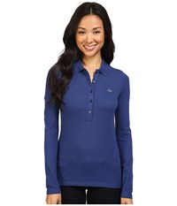 Lacoste Long Sleeve Stretch Pique Polo Waterfall Blue Women's Long Sleeve Pullover Navy