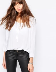 Jdy Long Sleeve Top With Tie Detail White