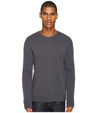 Vince Side Zip Long Sleeve Crew Neck Sweater Pewter