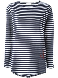 Chinti And Parker Striped Long Sleeve T Shirt Blue