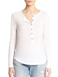 J Brand Gretchen Long Sleeve Henley Tee White