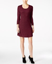 Ny Collection Petite Cable Knit Sweater Dress Royal Ruby