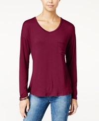Rebellious One Juniors' V Neck High Low Pocket Tee Malbec