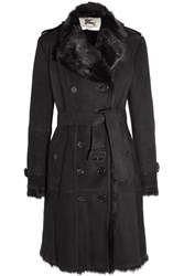 Burberry London Double Breasted Shearling Coat Black
