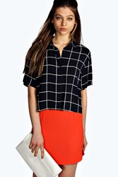Boohoo Grid Print Boxy Short Sleeve Shirt Navy