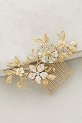 Anthropologie Brass Blossoms Comb Gold