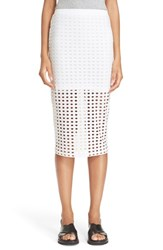 Alexander Wang Women's T By Circle Cutout Jersey Midi Skirt White