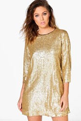 Boohoo Lucie Sequin 3 4 Sleeve Shift Dress Gold