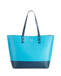 Cole Haan Beckett Colorblock Leather Tote Bag Sea Blue Deep Lake