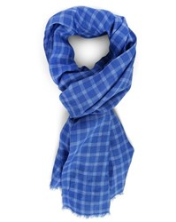 Hackett Blue Blended Checks Linen Scarf
