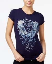 Guess Embellished Graphic T Shirt Evening Navy