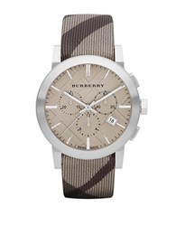 Burberry Mens Chronograph Watch With Smoke Check Strap Brown