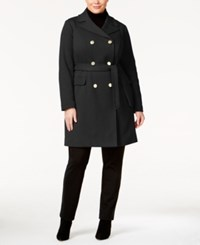 Inc International Concepts Plus Size Double Breasted Coat Only At Macy's Black