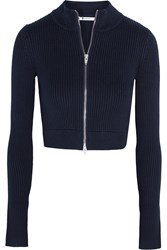 Alexander Wang Cropped Ribbed Knit Cotton Blend Cardigan Blue