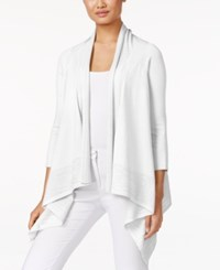 Cable And Gauge Open Front Cardigan White