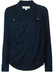 Michael Michael Kors V Neck Blouse With Two Chest Pockets Blue