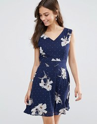 Yumi Tie Back Skater Dress In Floral And Spot Print Navy