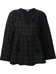 Masscob Three Quarters Sleeves Checked Blouse Green