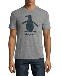 Original Penguin Pete Tartan Logo Tee Gray