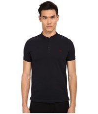 The Kooples Shiny Pique Polo Navy Men's Short Sleeve Pullover
