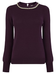 Oasis Necklace High Neck Top Mid Purple