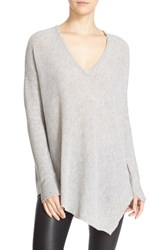 Alice Olivia Women's 'Edie' Asymmetrical Hem V Neck Wool Blend Sweater Dove Grey