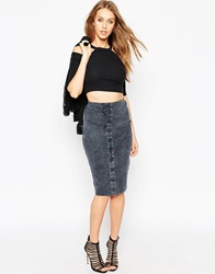 Asos Washed Lace Up Pull On Pencil Skirt Grey