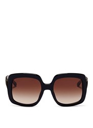 Michael Kors 'Harbour Mist' Tortoiseshell Temple Acetate Square Sunglasses Black